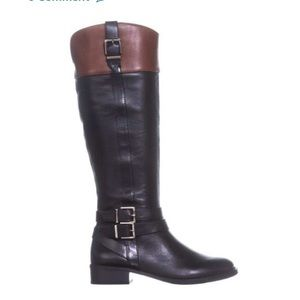 INC Frankii Leather Knee High Boot black/cognac